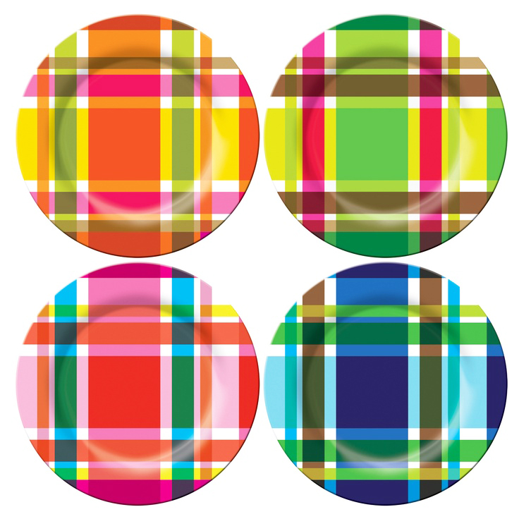 French Bull Plaid Melamine Plates