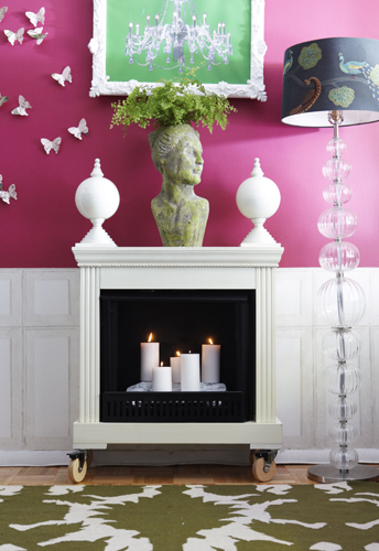 Cropped Fireplace - Faux Fireplace on Wheels for Cramped Living Rooms