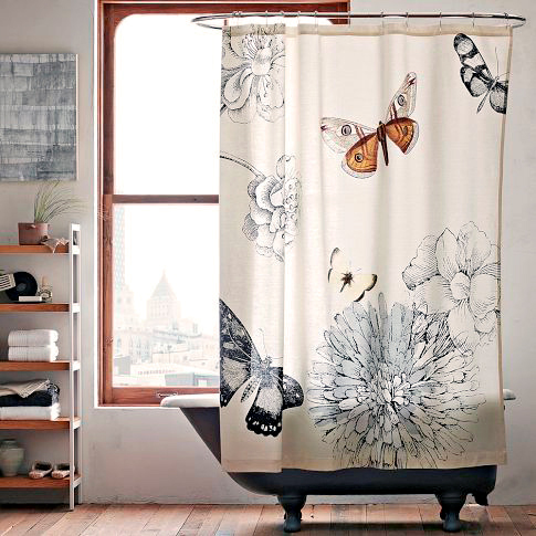 Photo 2  West Elm Butterfly Curtain - Hot Shower