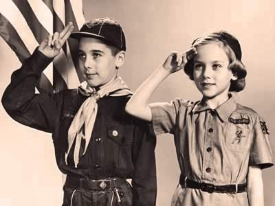 vintage girl scout and boy scout