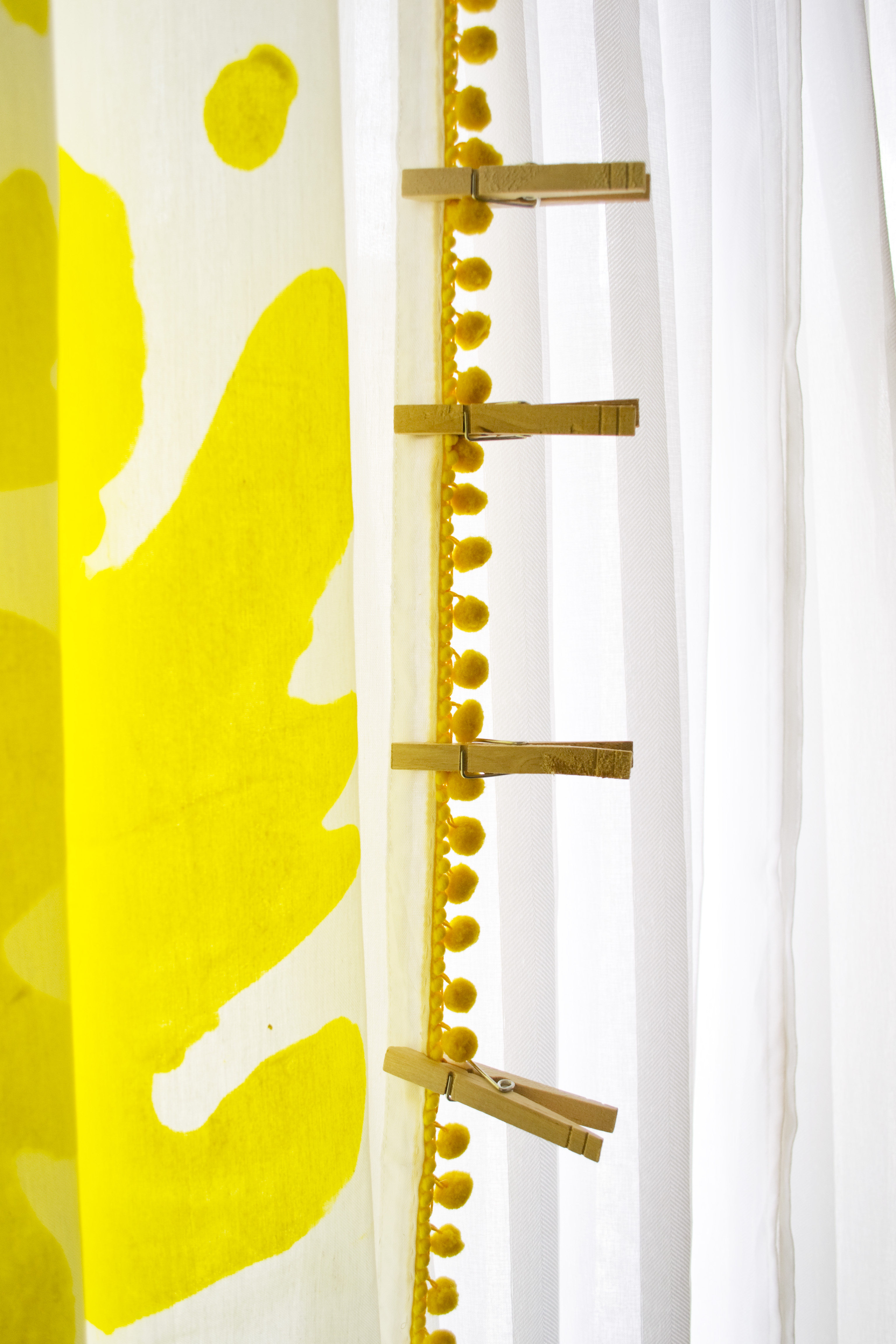 Close Up Yellow Hand Painted Curtains DIY Clothespins