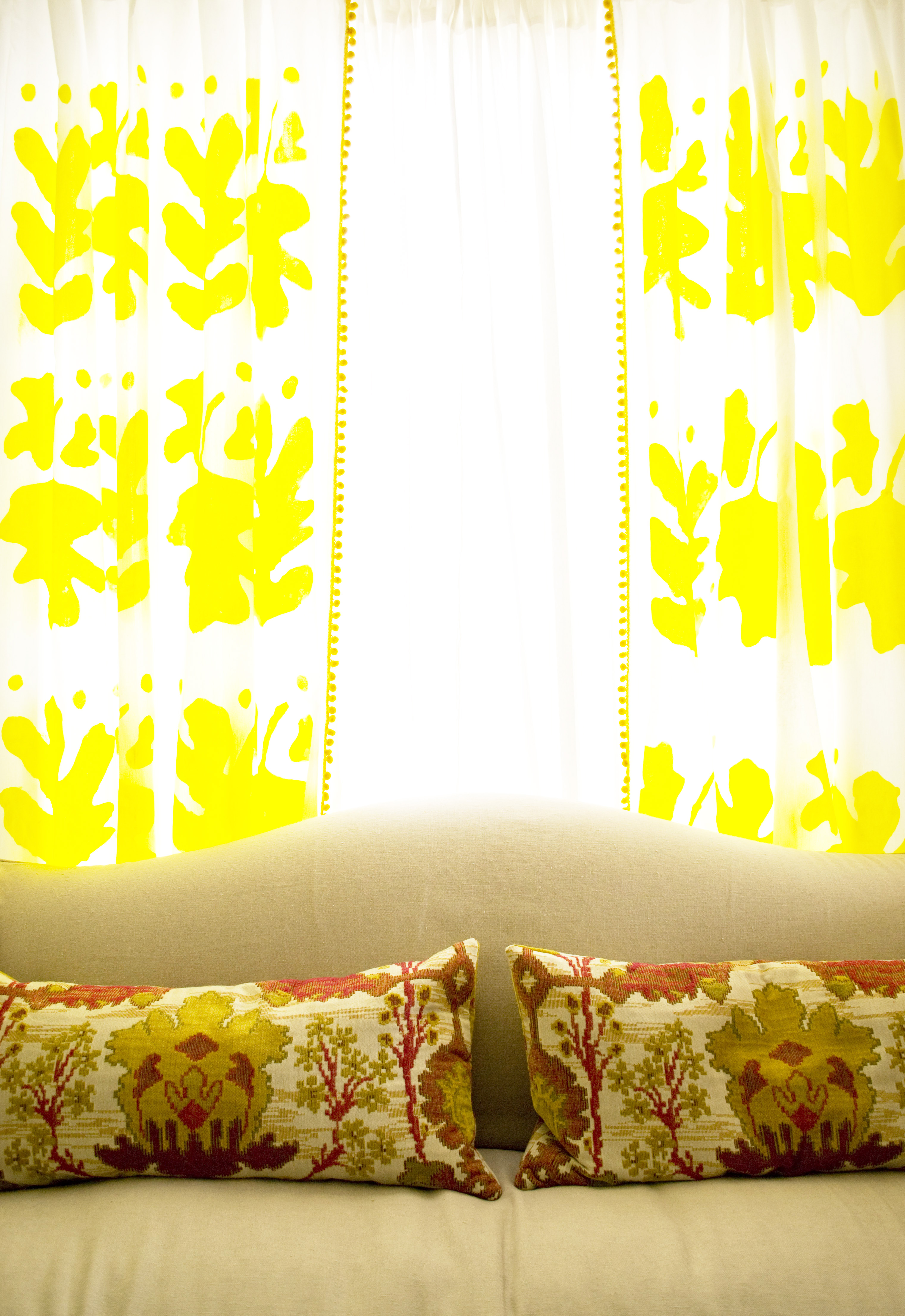 Yellow Hand Painted Curtains
