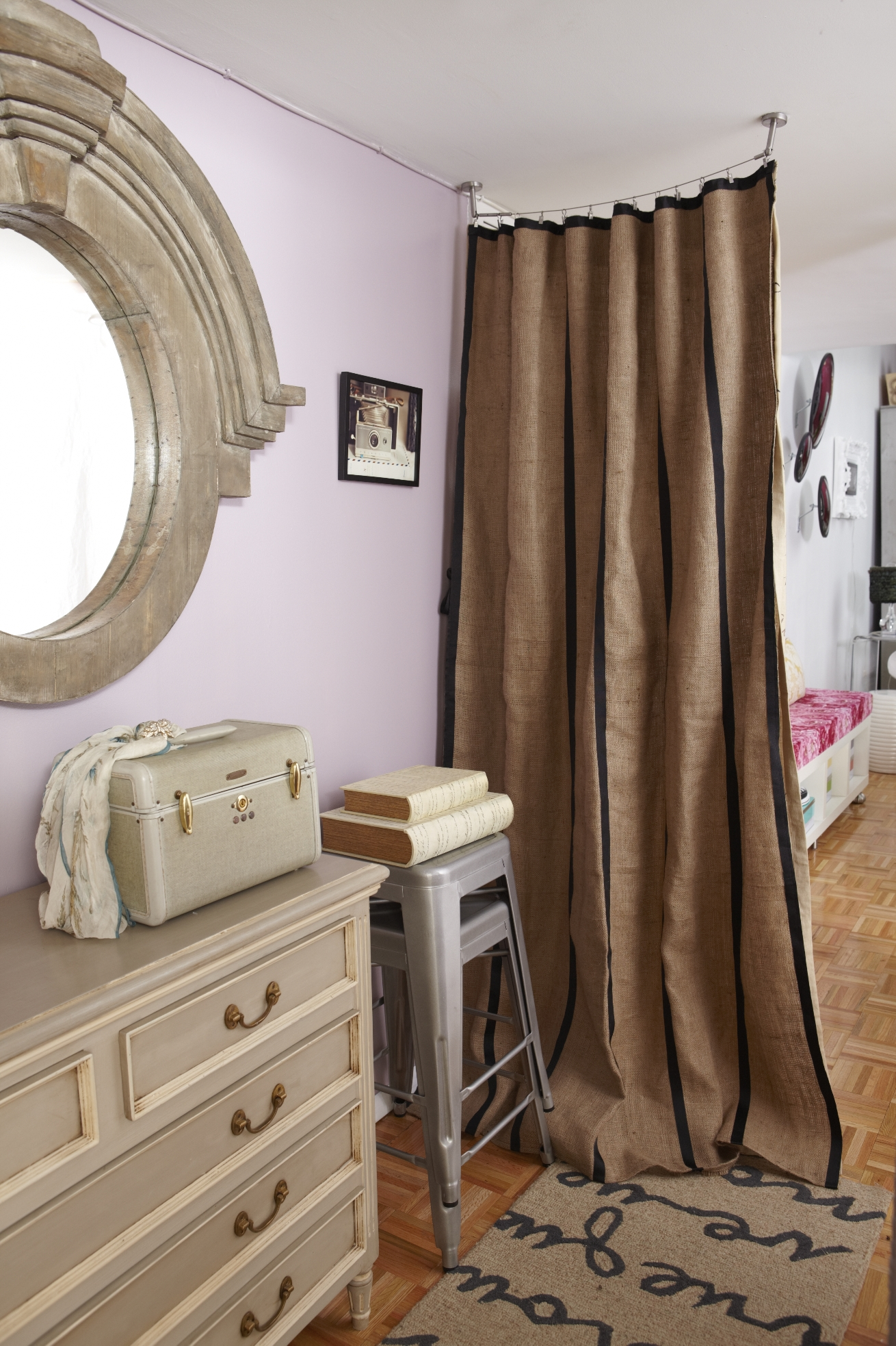 Burlap Curtain Room Divider