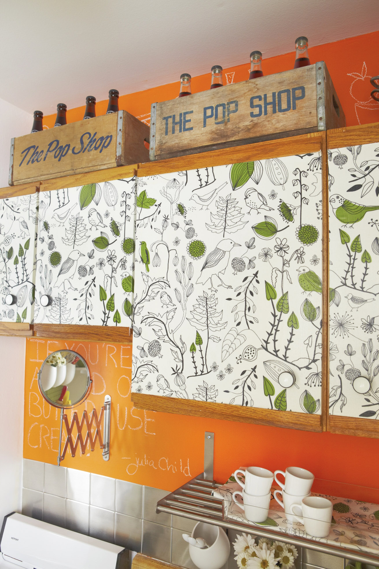 DIY Fabric Decoupage Cabinet