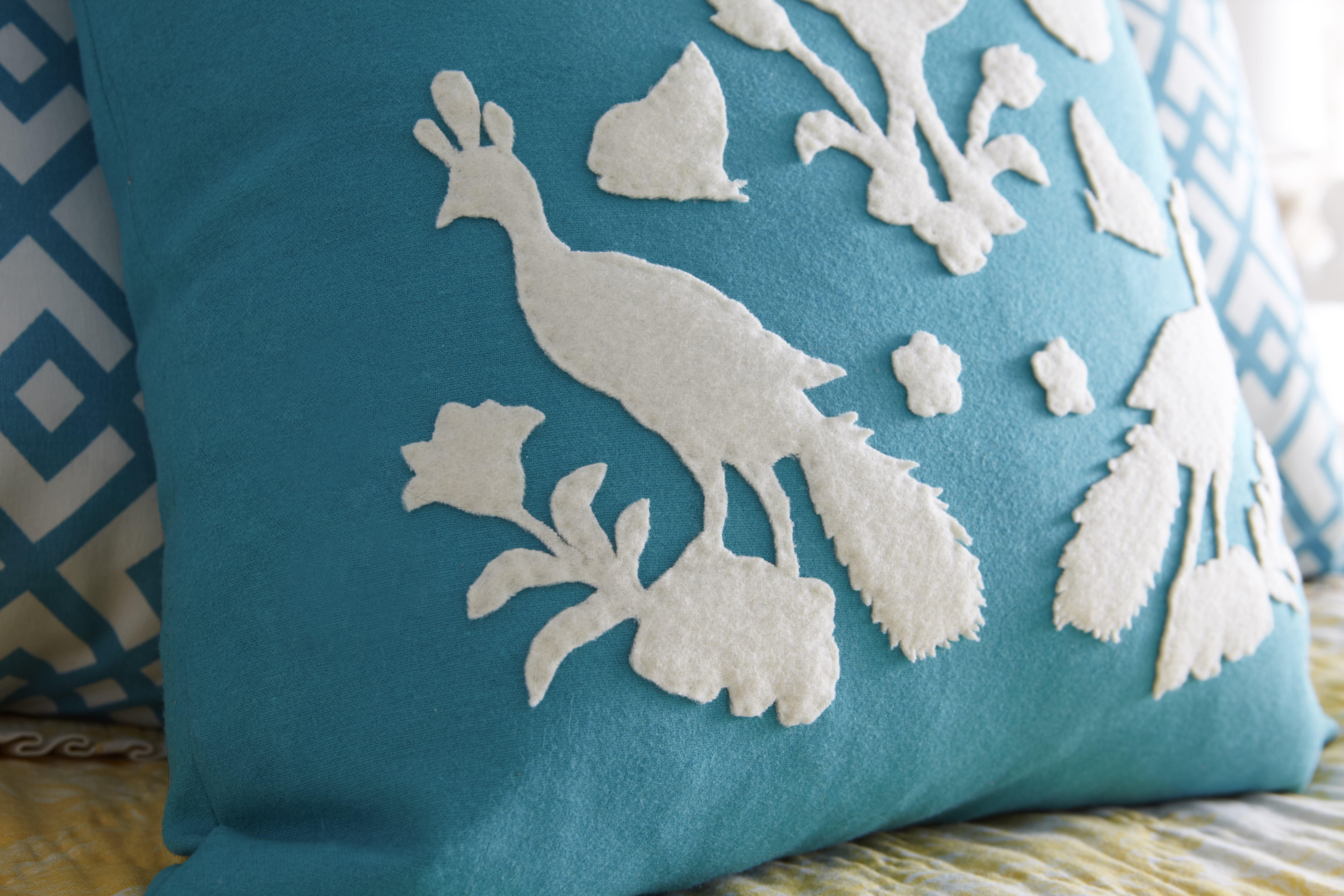 Close Up Applique Felt PIllow - Paper Pillow: Felt Appliqué From a Wallpaper Template