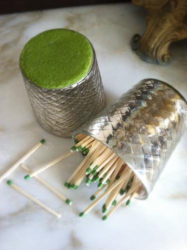 Mercury Glass Match and Strike Holder