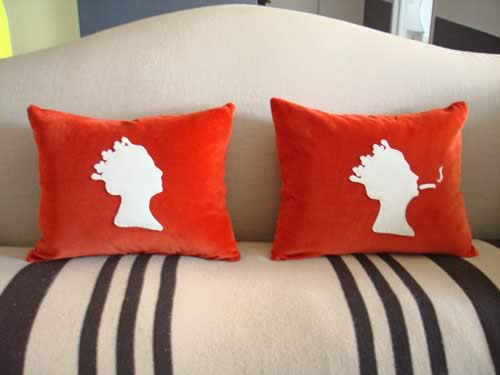 naughty Photo 1 Sofa with Queen pillows - Naughty or Nice? Queen Elizabeth Felt Pillows
