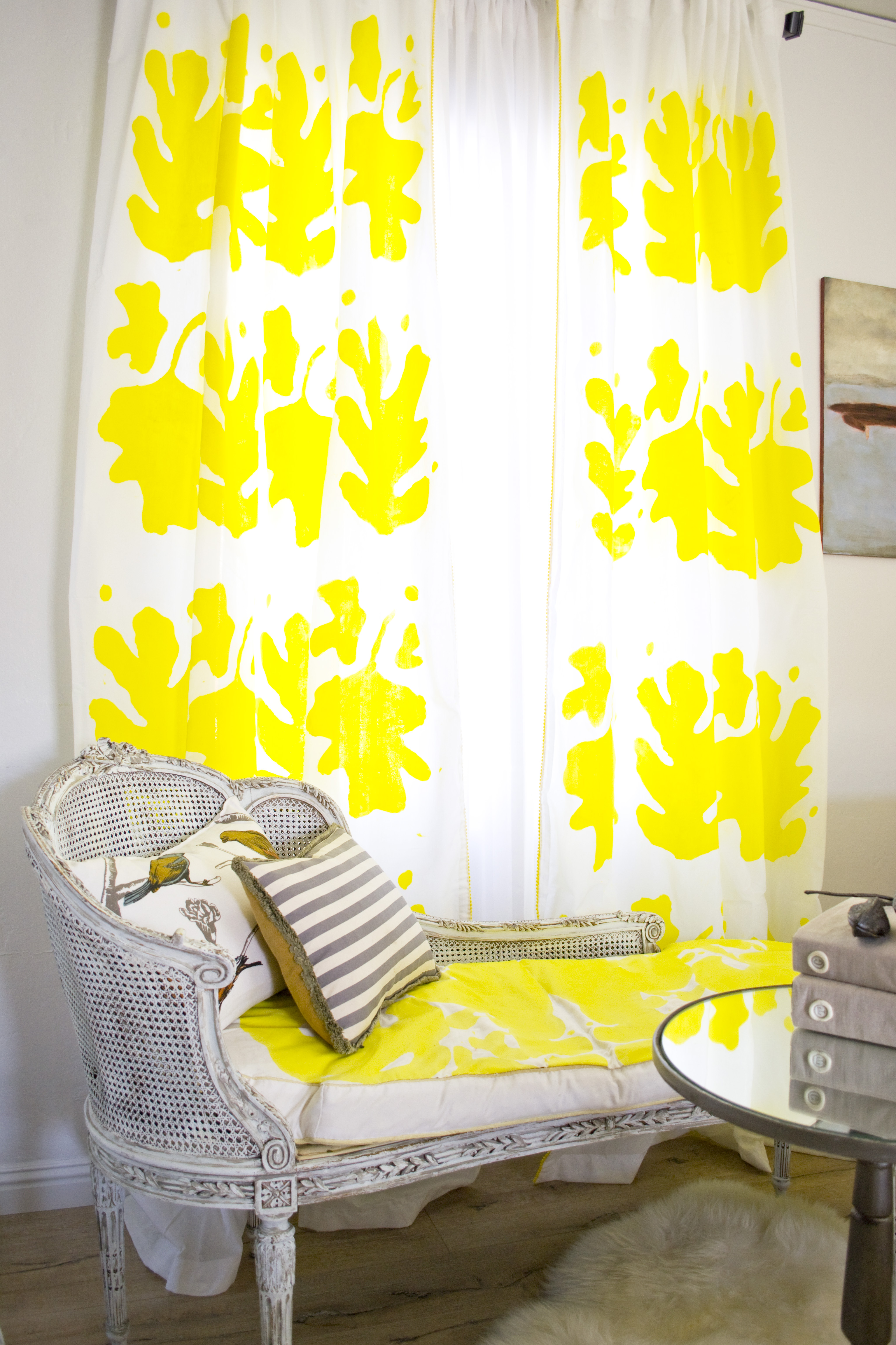 Hand-painted stenciled curtains