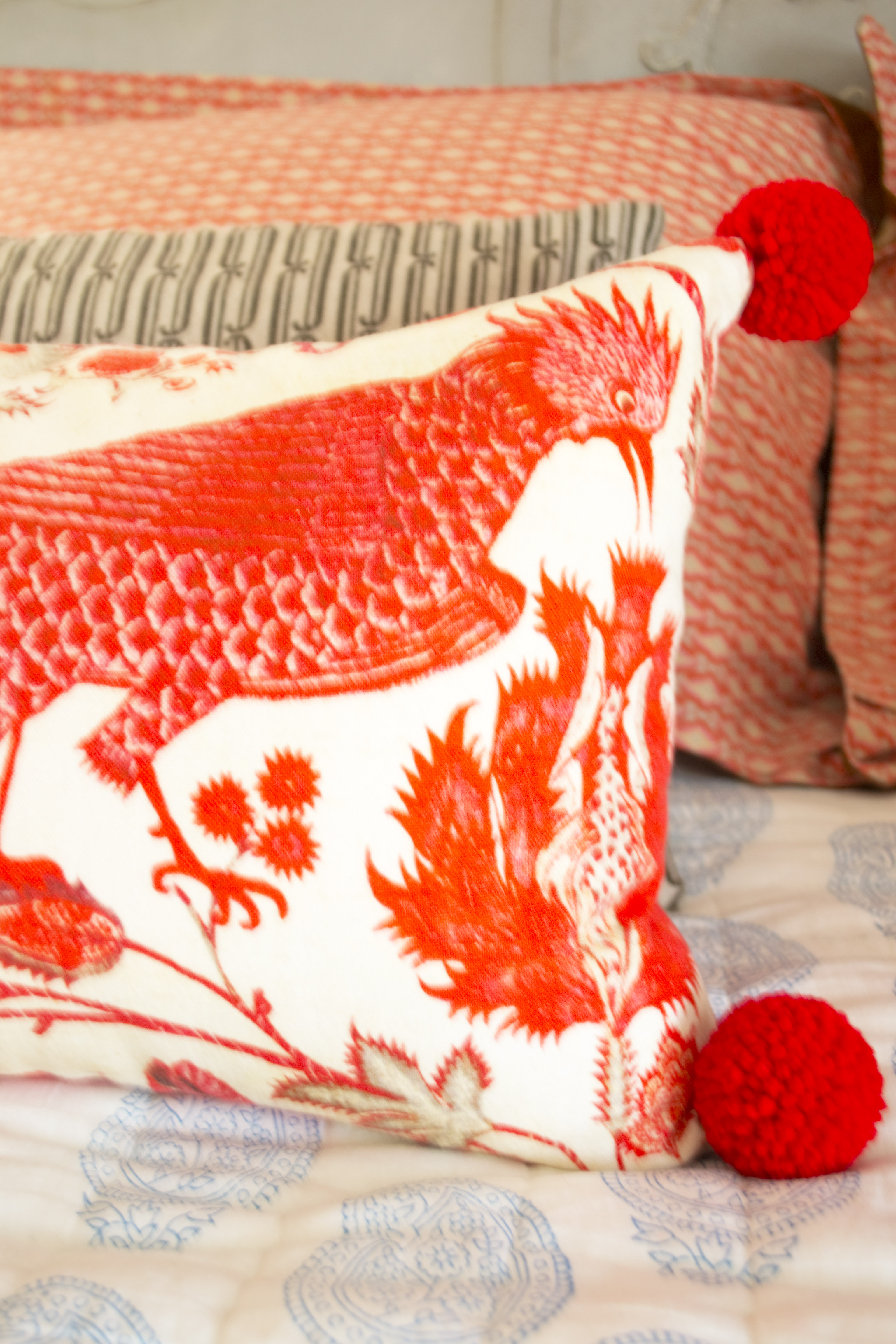 PomPom Red Pillow